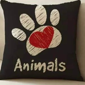 Other - Pillow Cover- New-  I Love Animals Paw Print